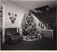 chi-chi's luncheonette and interior with christmas tree (2 works) by george tice