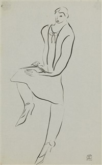femme lisant genou relevé (reading woman with raised knee) by sanyu
