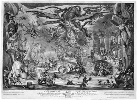 die versuchung des hl antonius after jacques callot by pierre picault