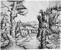flußlandschaft im gebirge by augustin hirschvogel
