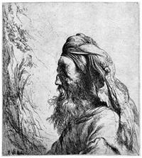 brustbildnis eines bärtigen orientalen mit turban by jan lievens