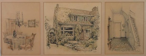 interior and exterior of an early 20th century house in heemstede 5 works of various sizes in 3 frames by anton pieck