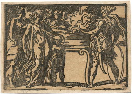 opferungsszene mit einem krieger rechts und der szene beiwohnenden figuren links by parmigianino