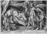 amor und psyche (after bartholomäus spranger) by jan harmensz muller