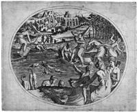 diana und ihr gefolge auf hirschjagd by luca (romano) penni