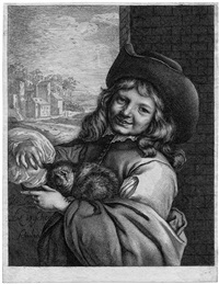 lachender knabe mit einer katze auf dem arm (after jacob van loo) by lambert de visscher
