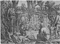 die predigt des heiligen johannes in der wüste (after luca penni) by jean mignon