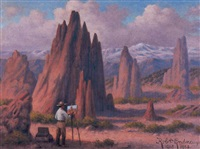 garden of the gods, colorado springs, with pike's peak in the distance by robert ottokar lindneux