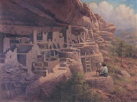 painting at the cliff palace, mesa verde, national park, colorado by robert ottokar lindneux