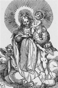 die jungfrau mit dem kind auf wolken by matthias (von nördlingen) gerung