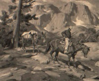 cowboy leading a pack mule in the sierras by howard everett smith