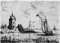 der turm: küstenszene mit zwei fischerbooten by bonaventura peeters the elder