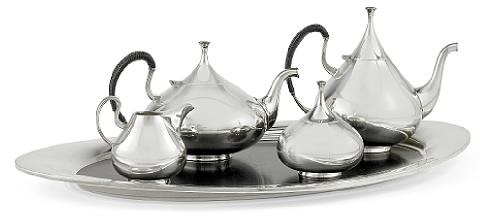 dimension tea and coffee service on tray set of 5 by john prip