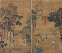 拜贺图 (figure) (2 works) by jiang qian