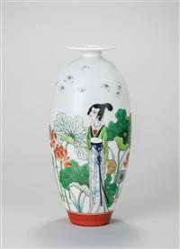 心旷神怡 古彩 (refreshing, a vase) by dai ronghua