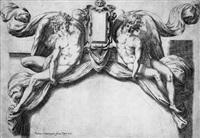 entwurf für eine supraporte mit zwei genien, eine kartusche präsentierend by orazio (aquilano) de santis