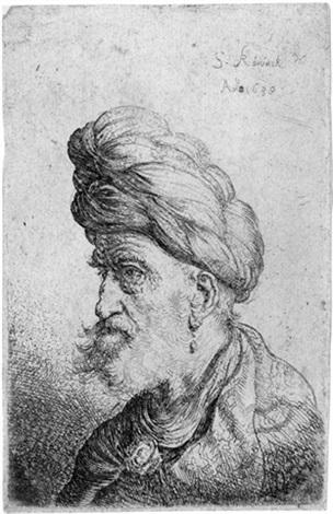 brustbild eines mannes mit turban nach links by salomon koninck