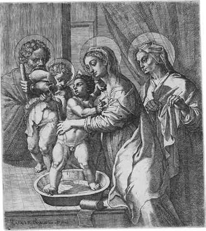 die hl maria den jesusknaben waschend by pietro facchetti