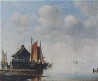 kleiner hafen mit segelschiffen by adolf friedrich vollmer