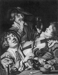 violinspieler mit zwei zechenden jungen männern by jacob gole