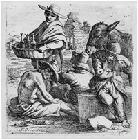 der wacholderschnapshändler und die drei bettler, im hintergrund die cestius-pyramide by jan van ossenbeeck