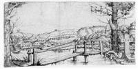 flußlandschaft mit einem hölzernen steg by augustin hirschvogel