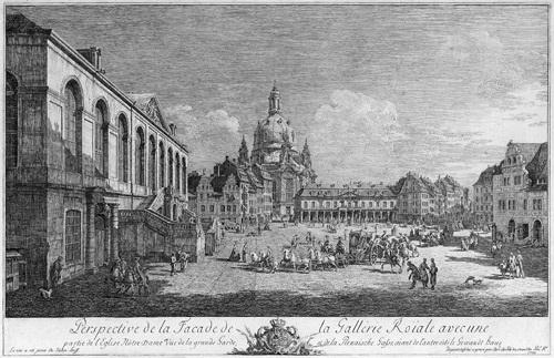 perspective de la facade de la gallerie roiale avec une partie de leglise nôtre dame der neumarkt zu dresden vom judenhof aus by bernardo bellotto