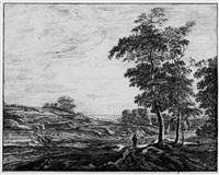 landschaften mit ansichten von den haag (haagse bos) (portfolio of 6) by roelant roghman