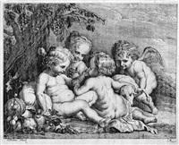 vier putten im spiel mit trauben und einem lamm (after rubens) by philippe lambert joseph spruyt