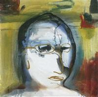 selbstporträt vor verhängtem hintergrund by thomas baumgärtel