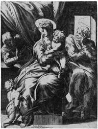 die hl. familie mit dem johannesknaben und der hl. elisabeth (after pompeo dell aquila) by orazio (aquilano) de santis