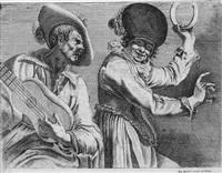 ein gitarre spielender mann und ein tanzendes mädchen mit tamburin by augustin quesnel the elder