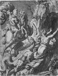der hl. georg bekämpft den drachen by orazio (aquilano) de santis