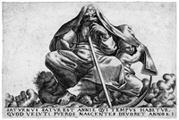 saturn; kybele; jupiter; juno; neptun; thetis; pluto; die liebe. (8 works) (from les divinités du paganisme) by jean rabel