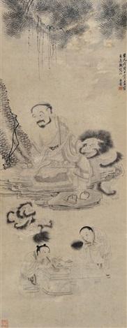 白描人物 landscape by bai ben