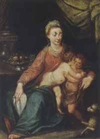 madonna and child with the infant st. john the baptist by lambert sustris