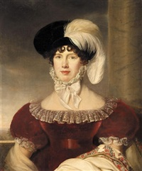 portrait of a lady, half-length, wearing a red velvet dress and a black hat with a white plume by henri françois riesener
