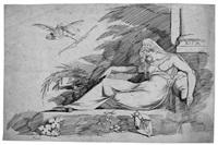 schlafende junge frau auf einem diwan, mit kleinem amor in den lüften by heinrich füssli the younger