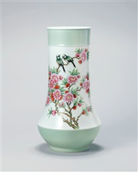 水点桃花 (peach blossom, a vase) by xu yafeng