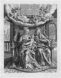 maria mit dem kind und der hl. anna (after cornelis verdonck by jan sadeler i
