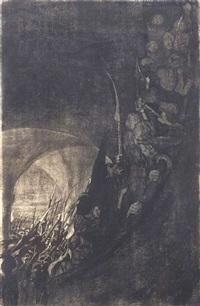 bewaffung in einem gewölbe, pl. 4 (from bauernkrieg) by käthe kollwitz