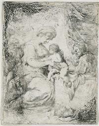 maria, das kind stillend, mit dem johannesknaben li. und dem lesenden jospeh re. by bartolomeo biscaino