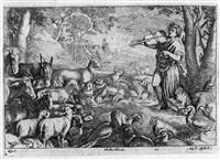 orpheus zähmt die tiere durch sein saitenspiel by jan van ossenbeeck