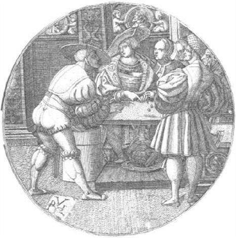 drei männer beim würfelspiel by monogrammist p v l