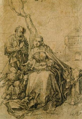 die hl familie mit engeln unter einem by hans suess von kulmbach