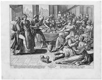 die leiden der welt (5 works) (after maarten de vos) by hieronymus wierix and johannes sadeler