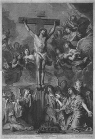 christus am kreuz von engeln beweint by gérard edelinck
