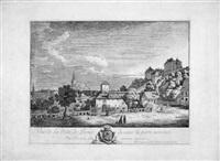 vue de la ville de pirne devant la porte nommée/oberthor avec la forteresse de sonnenstein by bernardo bellotto
