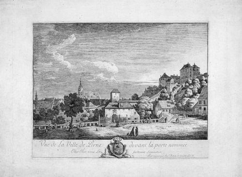 vue de la ville de pirne devant la porte nomméeoberthor avec la forteresse de sonnenstein by bernardo bellotto