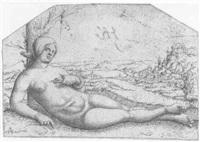 kleopatra tötet sich mit der schlange by augustin hirschvogel